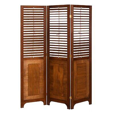 3 Panel Solid Wood Screen Room Divider, Adjustable Shutters, Walnut Brown Color