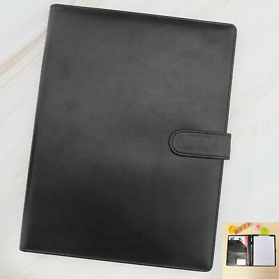A4 Leather Executive Business Conference Portfolio Folder & Calculator Black Black Executive Leather Portfolio