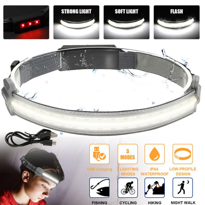 COB+LED Headlamp Headlight Torch Flashlight Work Light Bar Head Band Lamp 3 Mode
