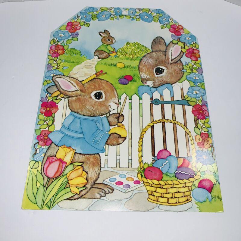 Easter Decoration Bunny Rabbits Painting Eggs Eureka Diecut Vintage