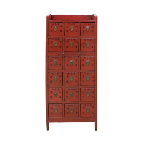 Chinese Vintage Red 18 Drawers Medicine Apothecary Cabinet Cs4951