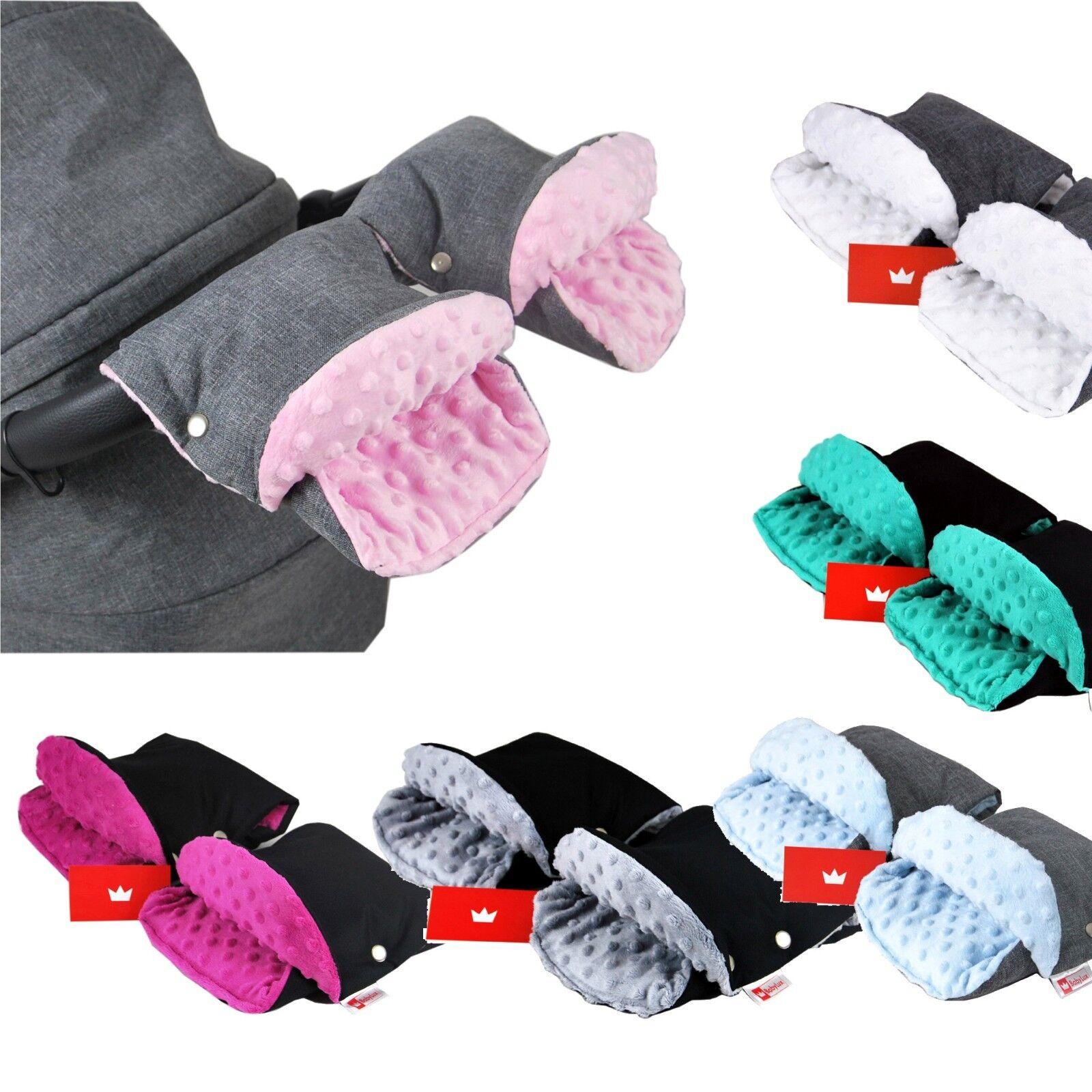 BABYLUX MUFF Handmuff Minky/Wolle Handwärmer - Kinderwagen Buggy Handschuh 2 Stk