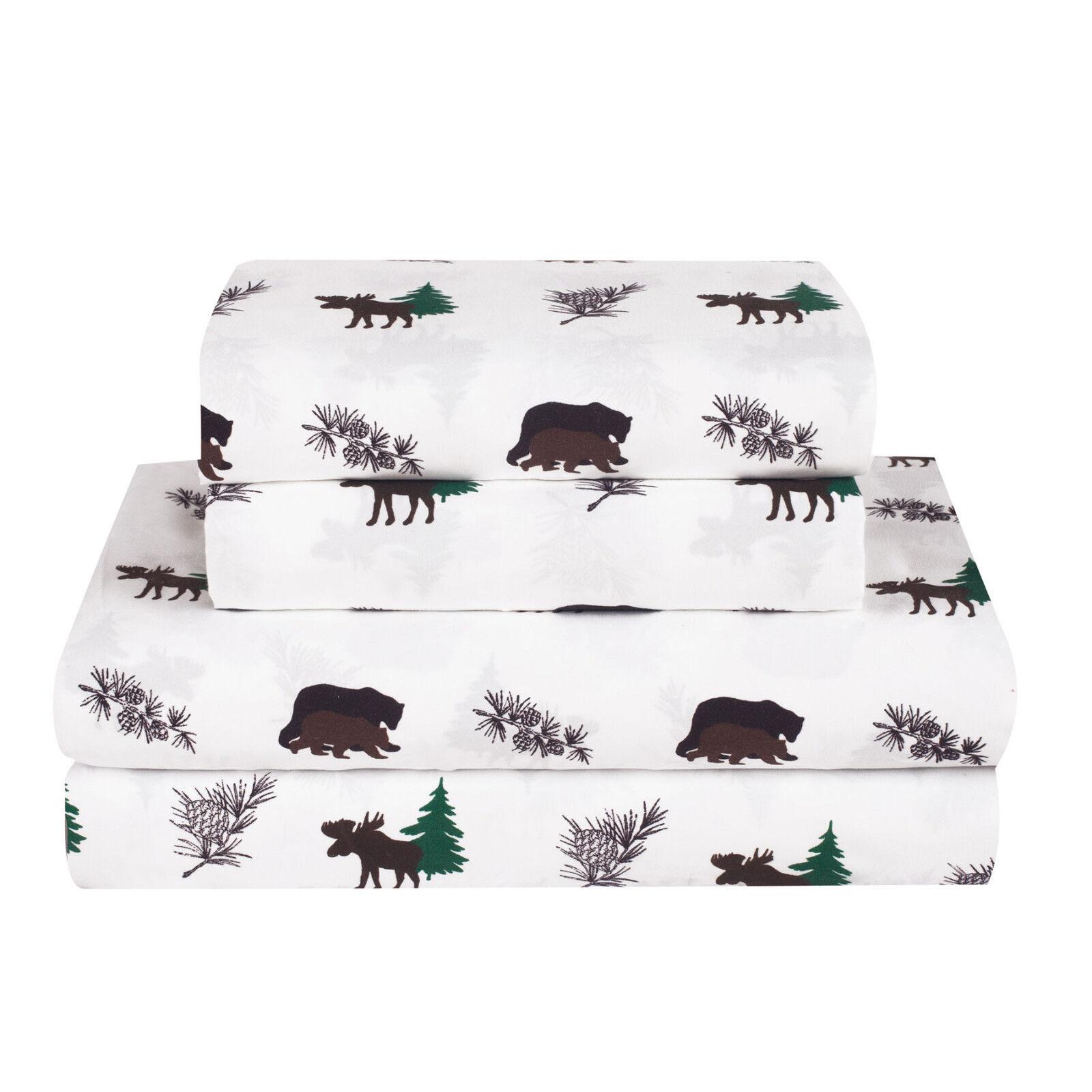 Twin, Full, Queen, King Rustic Bear Moose Bed Sheet Set Microfiber Cabin Hunting Bedding