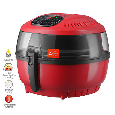 7.4QT Electric LCD 1700W Oil Less Air Fryer Timer and Temperature Control Red