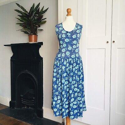 Vtg 90s Indian Cotton Blue Purple Green Floral Print Sleeveless Summer Dress 12