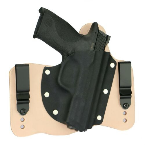 FoxX Leather & Kydex IWB Hybrid Holster S&W M&P Fullsize 9,40 & 45 Natural Right