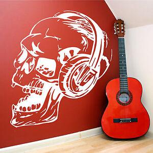 Decalque sticker vinyle art mural tete de mort avec casque for Decalque mural