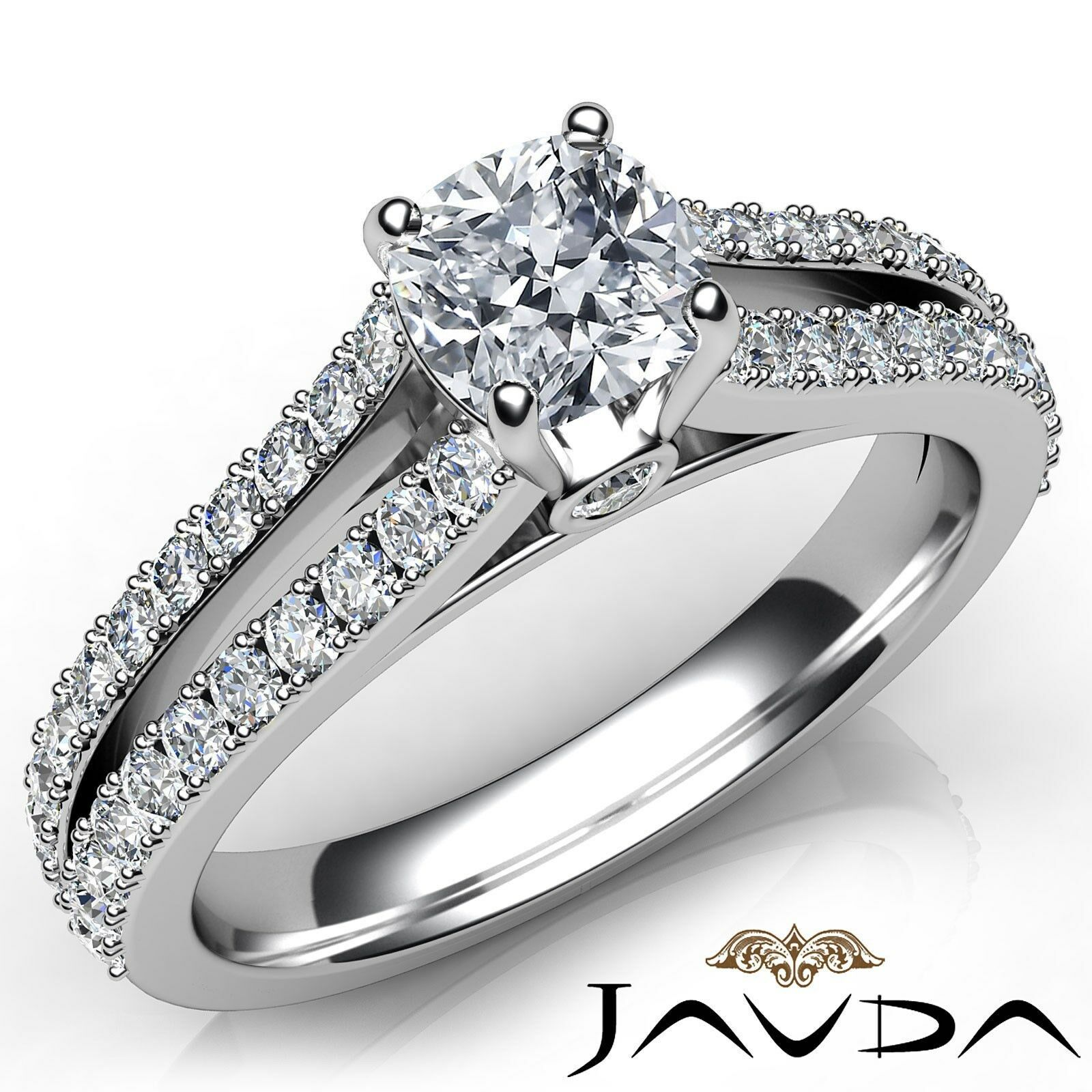 French V Pave Split Shank Cushion Diamond Engagement Bezel Ring GIA F VS1 1.15Ct
