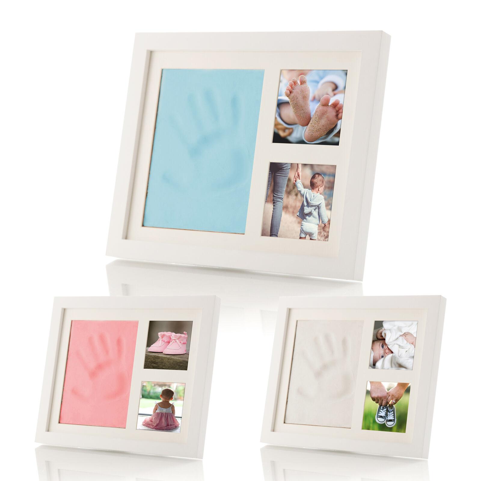 smileBaby Baby Bilderrahmen Hand Fuß Abdruck Set Handabdruck Foto Bilder Rahmen