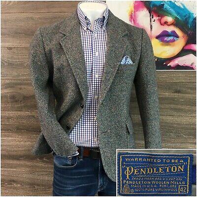 Vintage Pendleton Mens Sport Coat Blazer Size 42S Tweed Wool Jacket Two Button