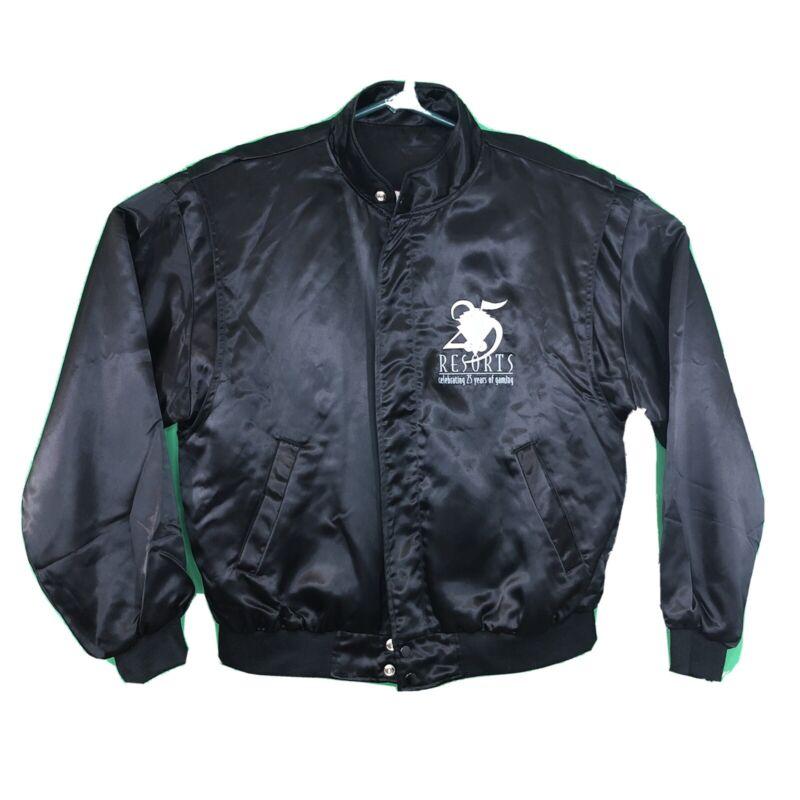 Vtg Resorts Casino Atlantic City Satin Reversible Jacket 25th Ann MADE IN USA