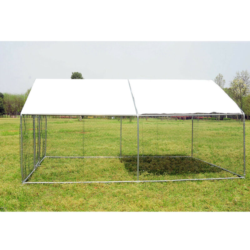 Metal Walk-in Chicken Run Coop Cage Animal Poultry House Hutch Backyard Outdoor