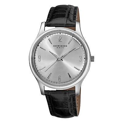 Men's Akribos XXIV AK539SS Stainless Steel Swiss Quartz Black Leather Watch