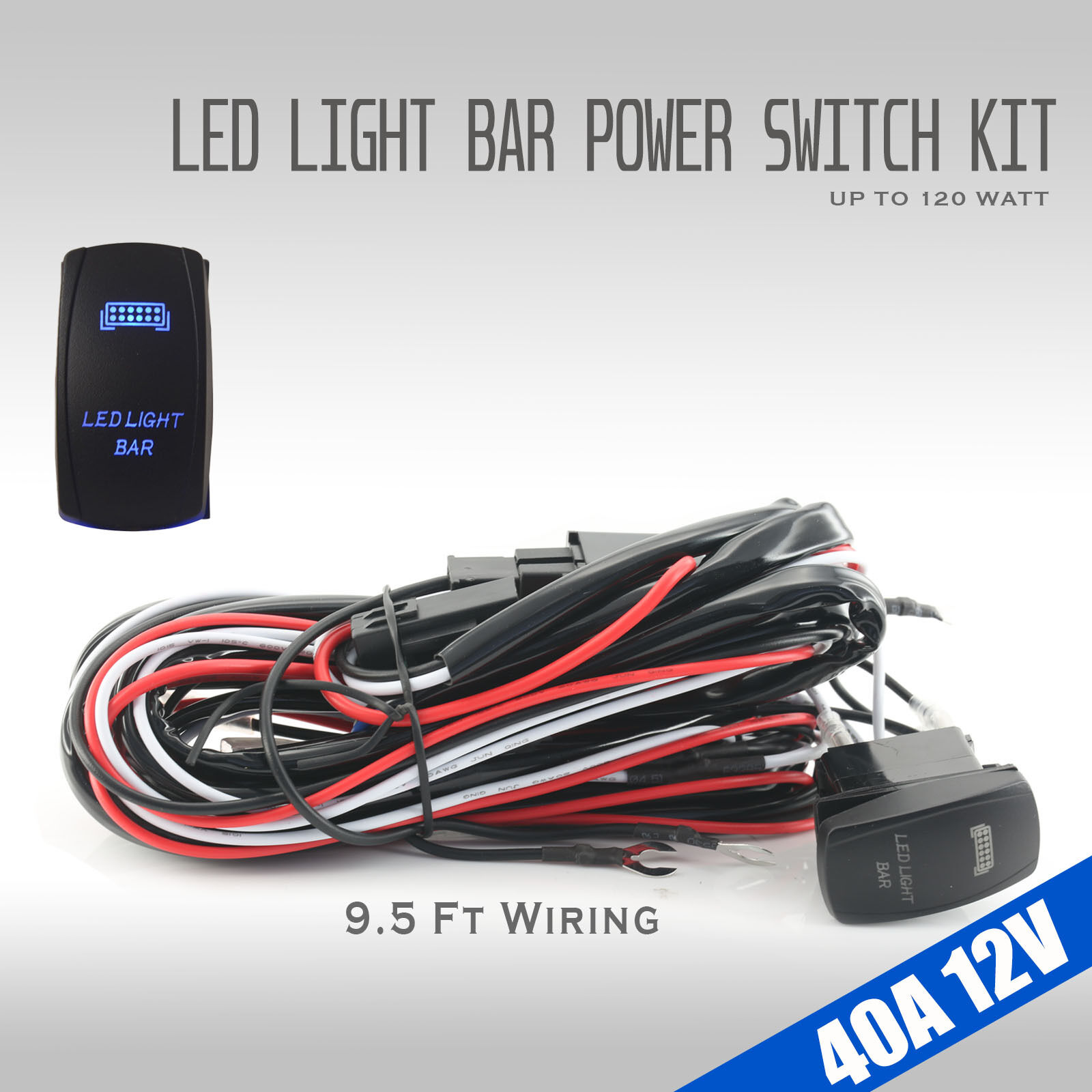9ft 40a 12v Switch  U0026 Relay Wiring Harness Kit Led Fog Work
