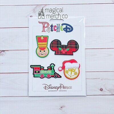 Disney Parks Patched Christmas WDW Train Soldier Small World Ears 4 Patch Set