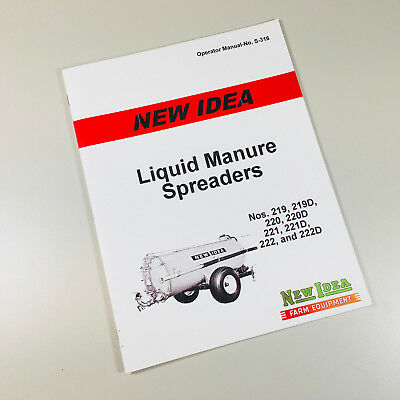 New Idea 221 221d 222 222d Liquid Manure Spreader Operators Owners Manual