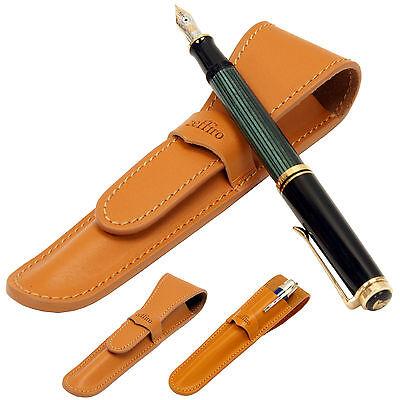 Genuine leather Fountain pen case - Orange single pen holder vintage cute pencil
