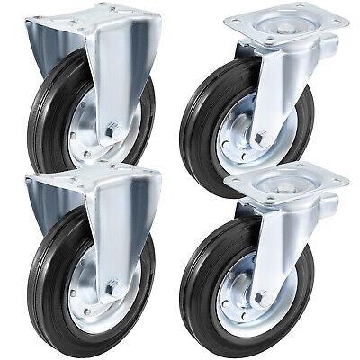 4pcs 8 Casters Wheel 2 Rigid 2 Swivel Caster Rubber Steel Floor Protection