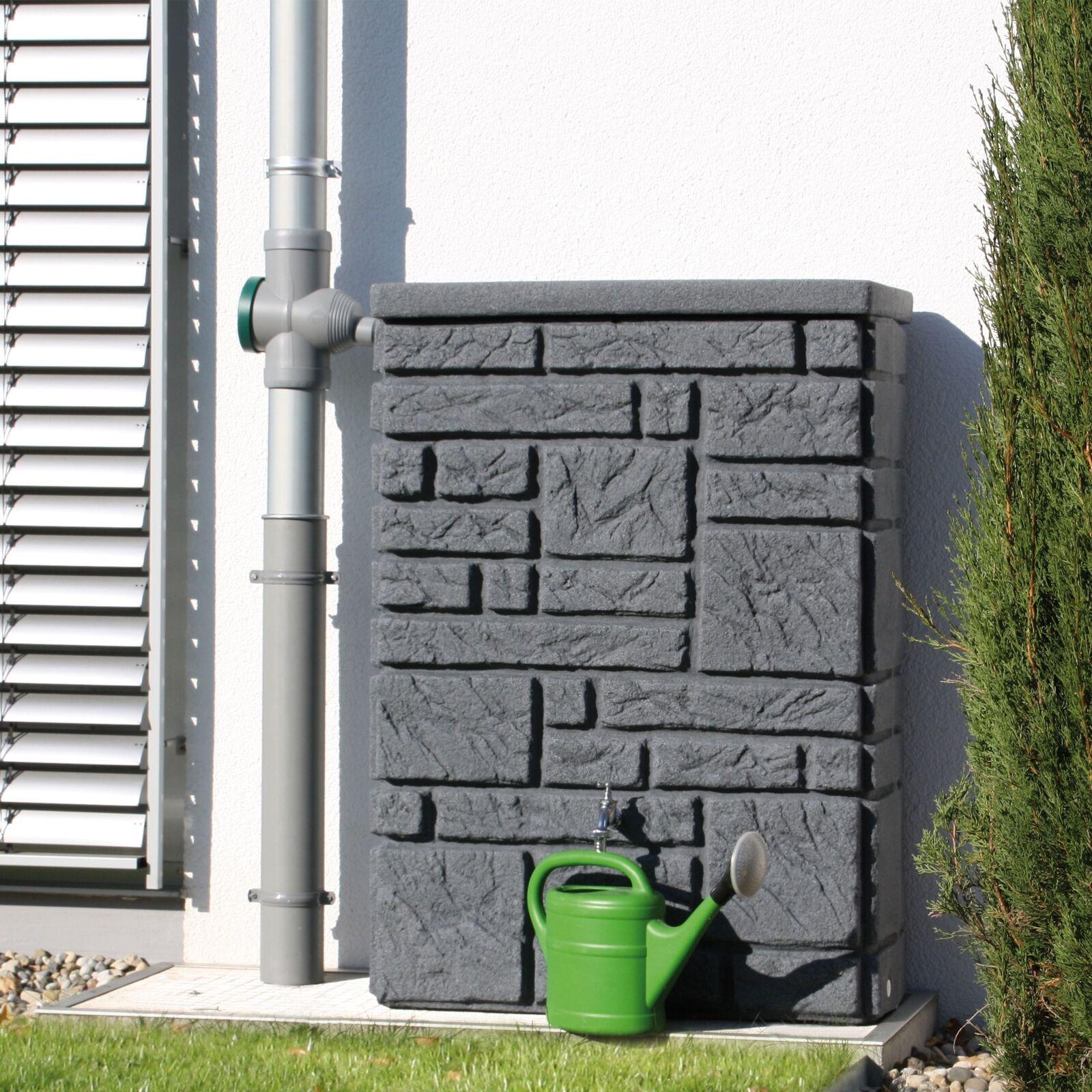 regentonne eckig wandtank maurano 300l black granit