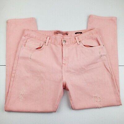 ZARA Slimming Distressed Salmon Pink Denim Jeans Straight Leg Women's Size 6