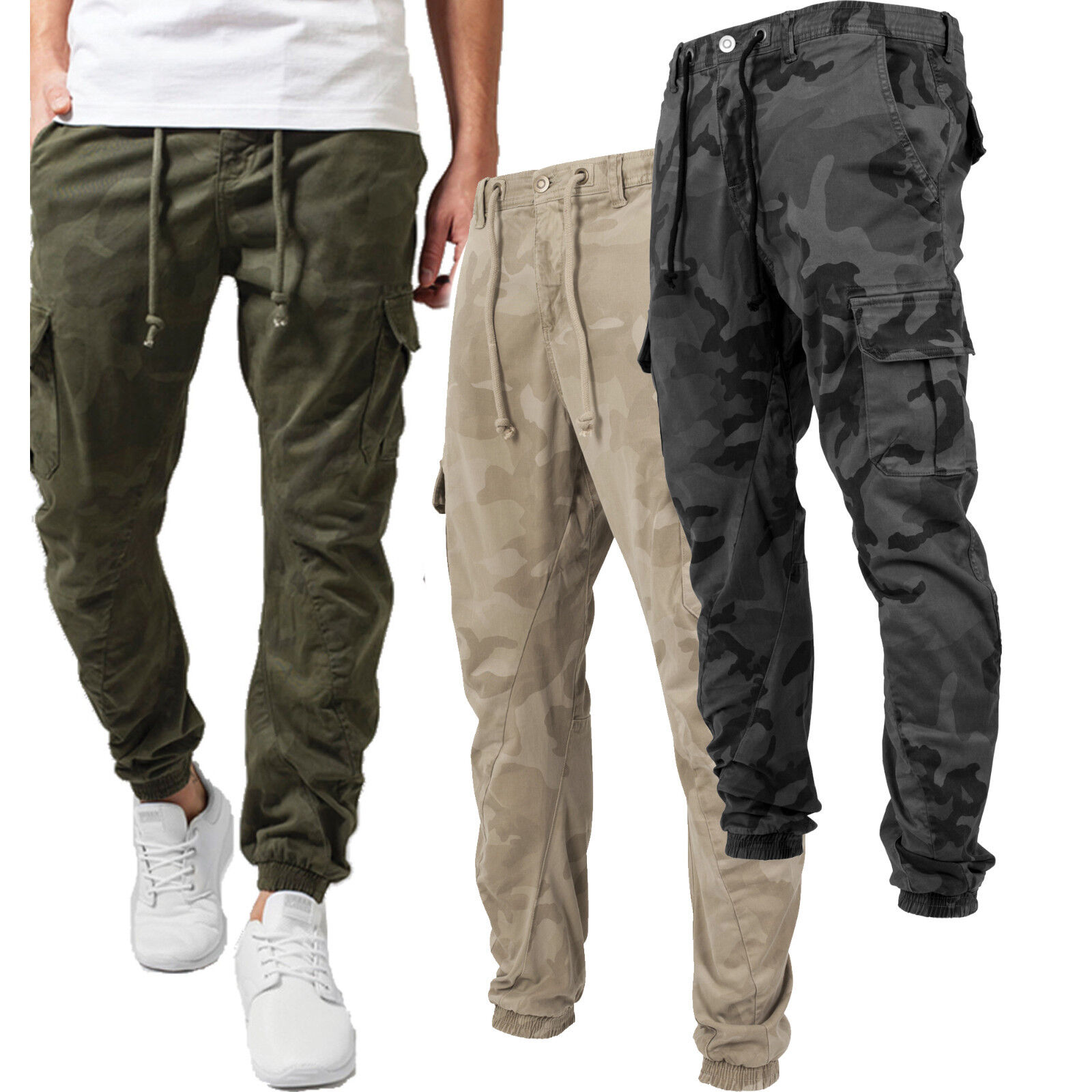 0eec9f95d8f Details about Urban Classics Men s Cargo Jeans Pants Camouflage Tarn Army  Bundesweh