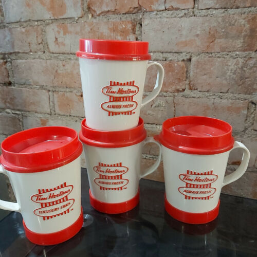 Lot of 4 Vintage Tim Hortons Plastic Travel Mugs Cups Stick On Base Aladdin