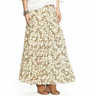Ralph Lauren Denim & Supply Women's NEW Beige Floral Peasant Boho Maxi Skirt S