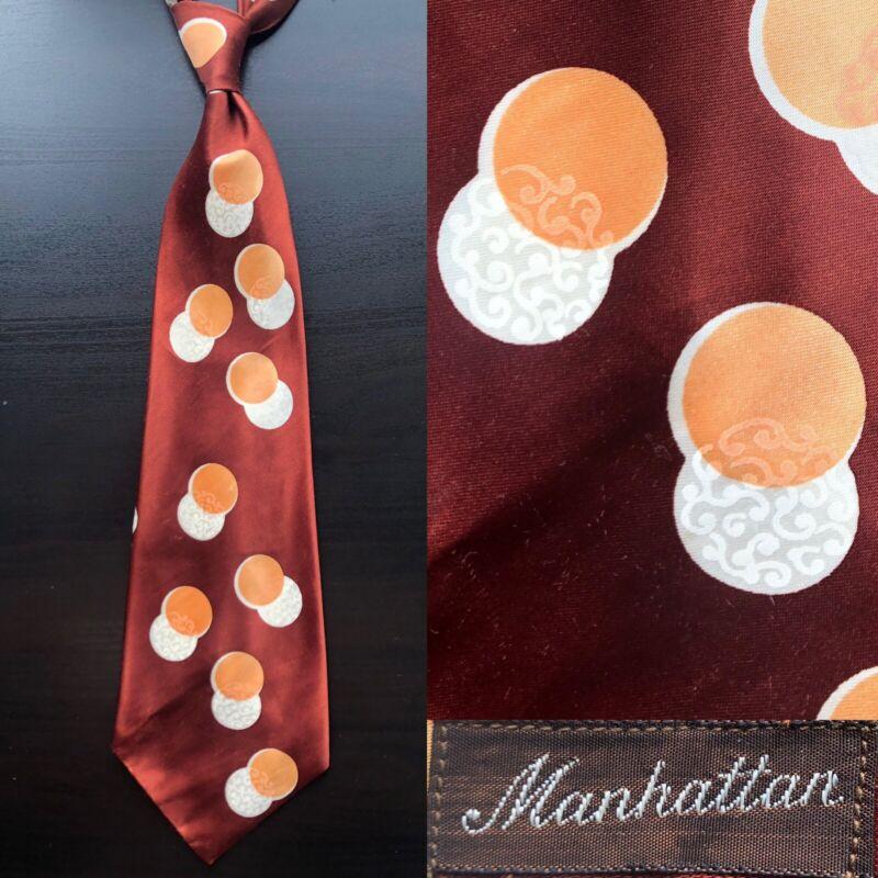 "Manhattan ""Circles"" Brown Jacquard Swing Tie EUC VTG 1940s 1950s Bold Look"