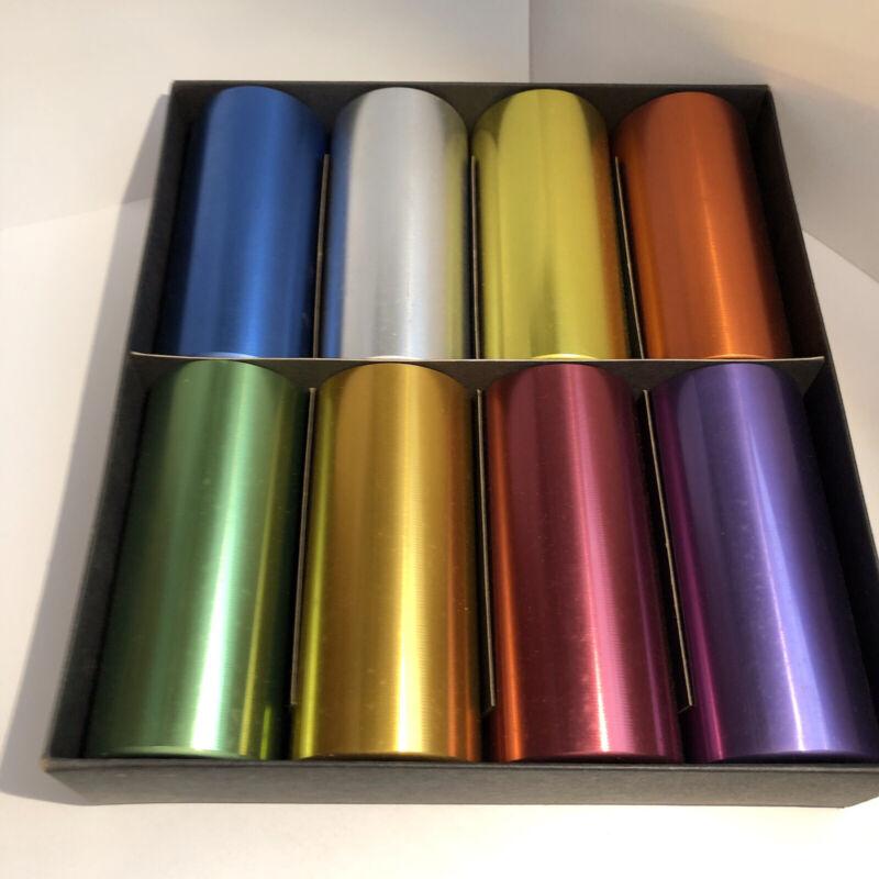 Vintage Set Of 8 Perma Hues Anodized Spun Aluminum Tumblers in original box