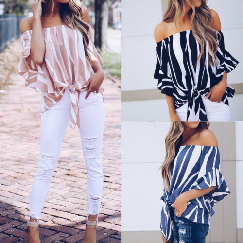 Damen Off Shoulder Gestreift Bluse Lose Schulterfrei Shirt Oberteil Tunika Tops