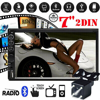 """2DIN 7"""" Car MP5 Player Bluetooth Touch Screen Stereo Radio HD with Rear Camera"""