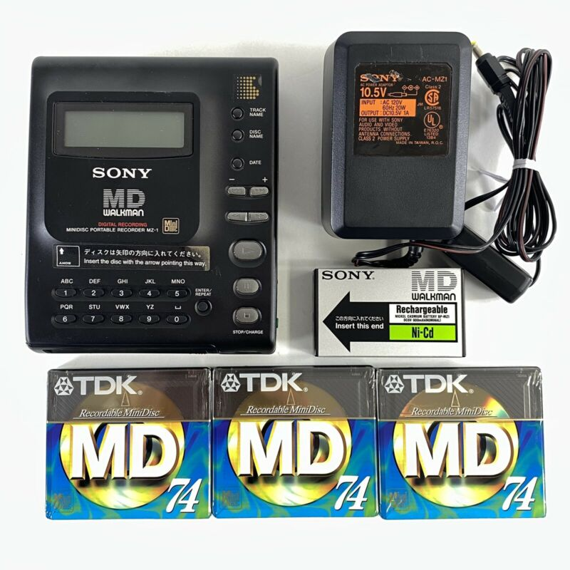 Sony MD Walkman MZ-1 MiniDisc Portable Recorder Rechargeable 3 New Disks TESTED