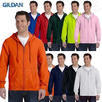 Gildan Mens Hoodie Full Zip Drawstring Ribbed Heavy Blend S-XL R-G186 Blend Full Zip Hoodie