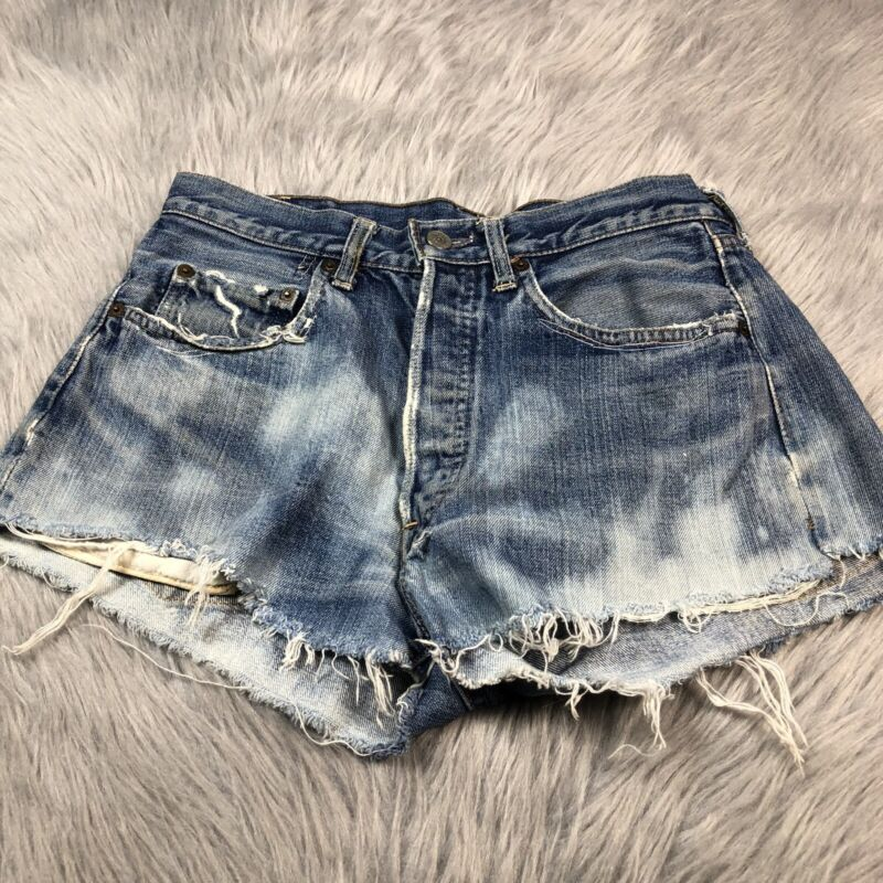 Vintage Cut Off Levis Big E Button Up Denim Distressed Shorts