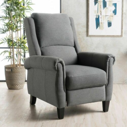 Harrah Charcoal Fabric Upholstered Push-Back Recliner with Scrolled Arms Chairs