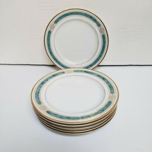 """Set of 6 Gorham China Regalia Court Teal Design 6 1/2"""" Bread Plates"""