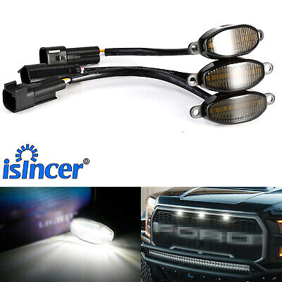 3x Smoked SMD Xenon White LED Front Grille Running Lights For Ford Raptor 10 18