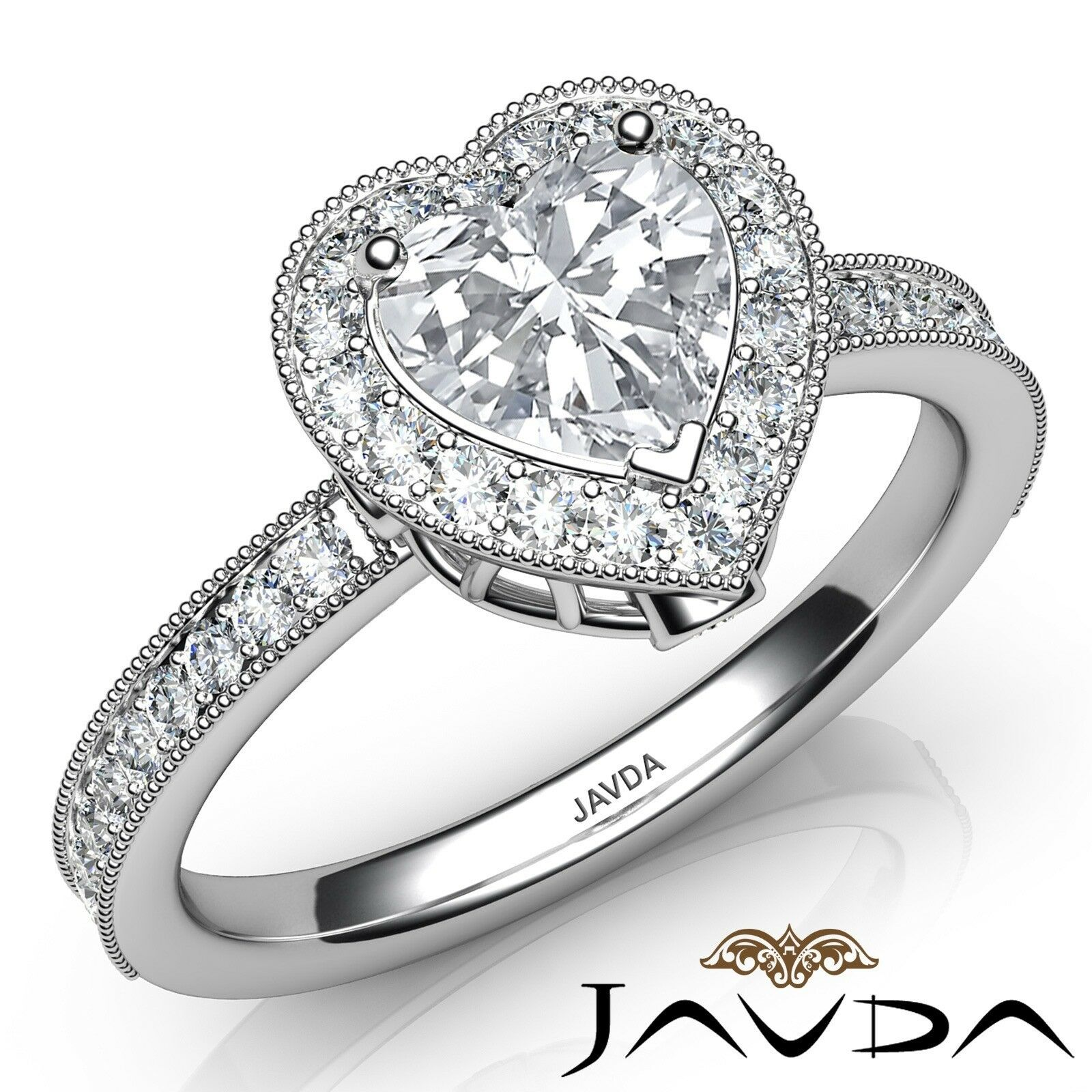 1.64ctw Milgrain Halo Bezel Setting Heart Diamond Engagement Ring GIA J-SI1 Gold