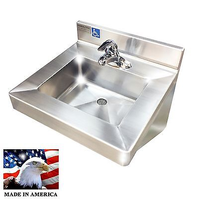 Wash Up Hand Sink Single Faucet Ada Compliant Lavatory Stainless Steel Heavy D.