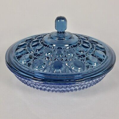 Vintage Indiana Glass Windsor Button & Cane Blue Candy Dish Bowl with Lid