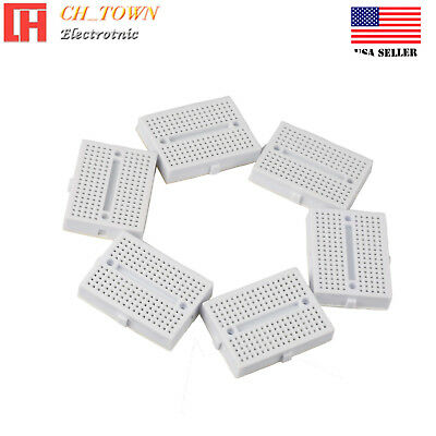 6pcs White Mini Breadboard SYB-170 170Tie-points Solderless Prototype Board USA