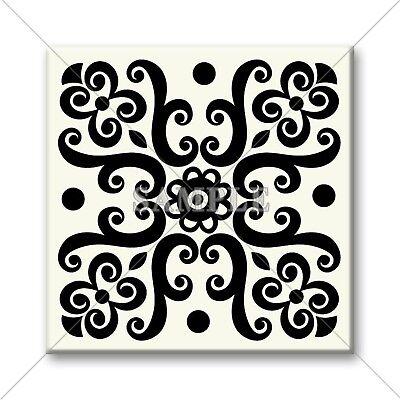 Ceramic Tile - Vintage Black White Design Unique Kitchen Tile Bathroom Tile #02 Black White Bathroom Tile