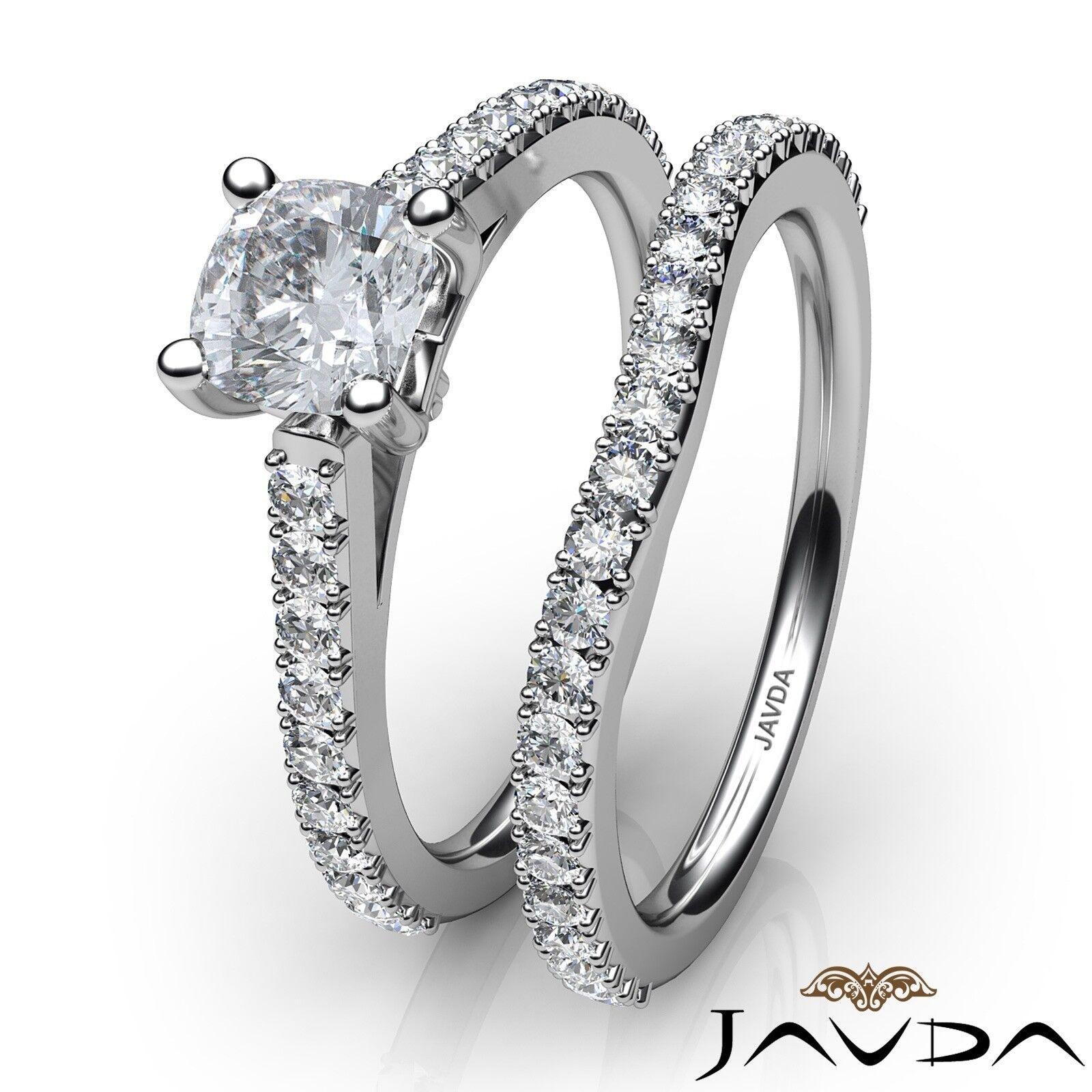 1.51ctw Double Prong Bridal Set Cushion Diamond Engagement Ring GIA F-VS1 W Gold 3