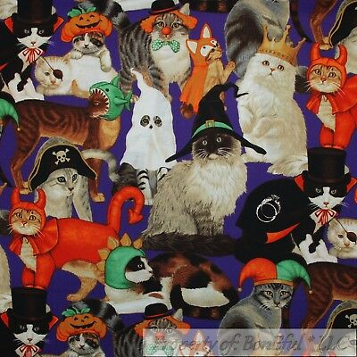 BonEful Fabric Cotton Quilt Purple Black CAT Halloween Costume Devil Crown SCRAP - Halloween Cat Fabric
