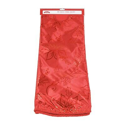 """Holiday Time Tree Skirt, Red Poinsettia, 48"""""""