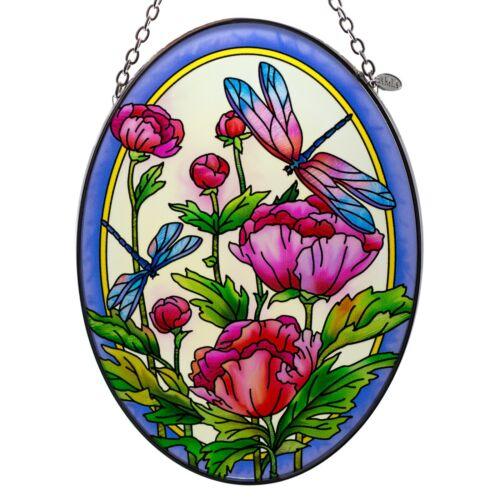 "Peonies & Dragonflies Suncatcher Hand Painted Glass By AMIA Studios 7"" x 5"""