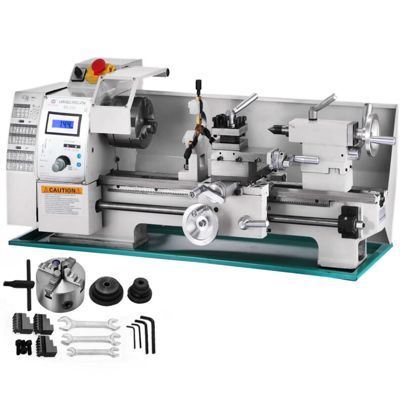 "8""x16"" Mini Metal Lathe Variable-Speed 0-2250RPM 750W BenchTop Digital Display"