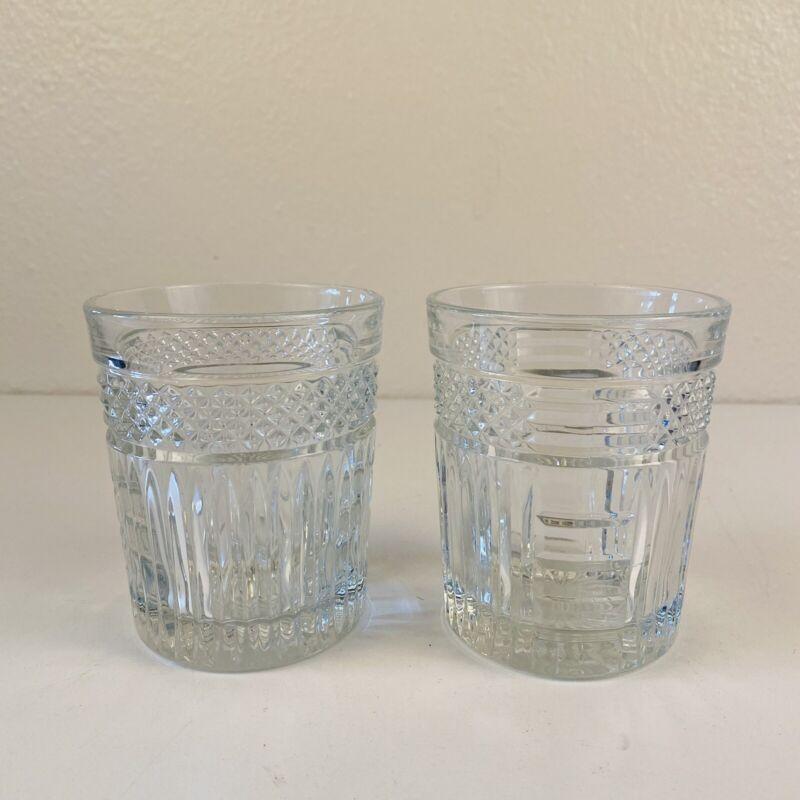 Vintage Whiskey Bourbon Textured  Crystal Glasses, Set of 2 Libbey, circa 1970