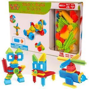Childrens 116pc Bristle Building Blocks Stacking Construction Bricks Stickle Toy