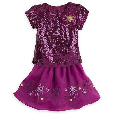 Disney Store Frozen Fancy Dress Set for Girls Anna Elsa Purple Sparkle Sequins - Fancy Dresses For Girls
